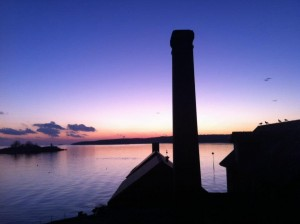 Paint Factory chimney at sunset - Photo by Iain Kerr