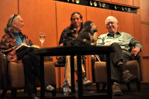 Jane Goodall with Mariano and Roger