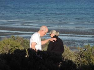 Roger Payne and Jane Goodall on beach