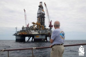Roger Payne with Oil Rig