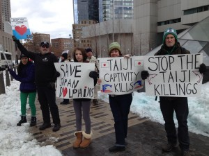 Ocean Alliance protesting dolphin slaughters in Boston