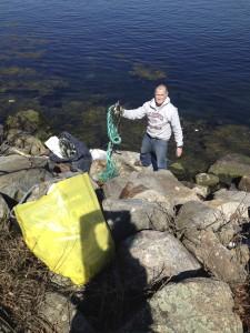 Mike Siswick collecting trash