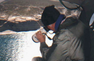 John Atkinson photographing southern right whales
