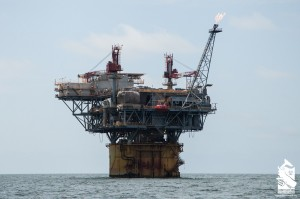 Oil rig gassing off in the Gulf of Mexico