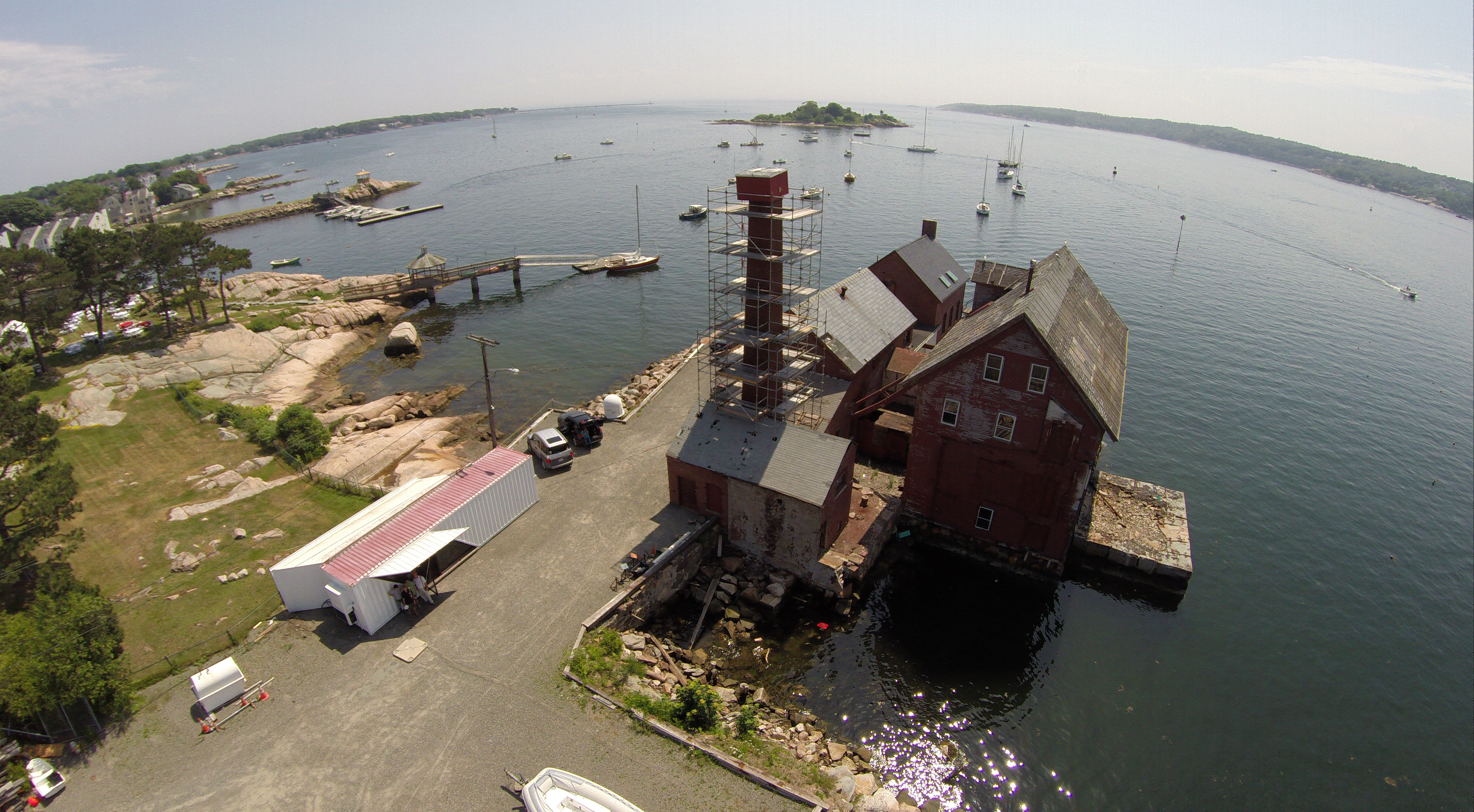 Drone photo of Ocean Alliance robotics lab