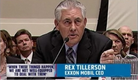 Rex Tillerson testifying about offshore oil spills