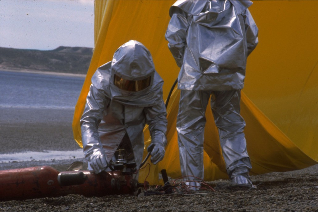 Iain in a fire-proof suit studying whales by hydrogen balloon