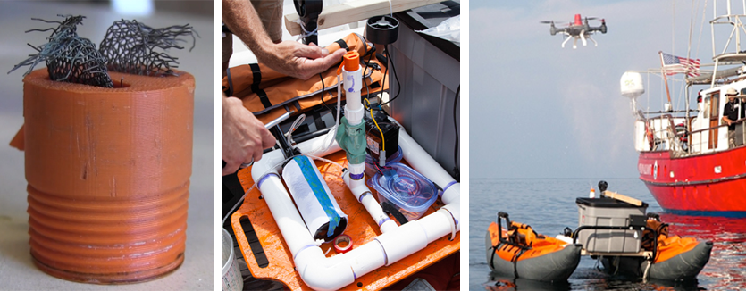 3D Printed Right Whale Blowhole; Blowhole Attached To SnotShot; SnotShot Testing Out A SnotBot
