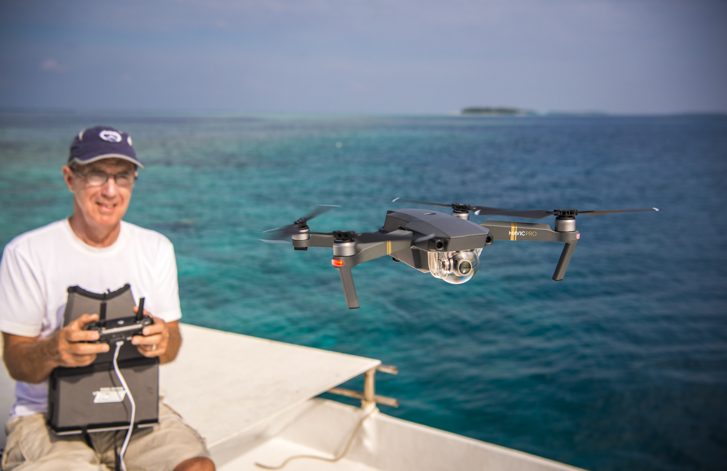CEO Iain Kerrflies the Mavic Pro while at the Parley conference in the Maldive. (Photo: Christian Miller)