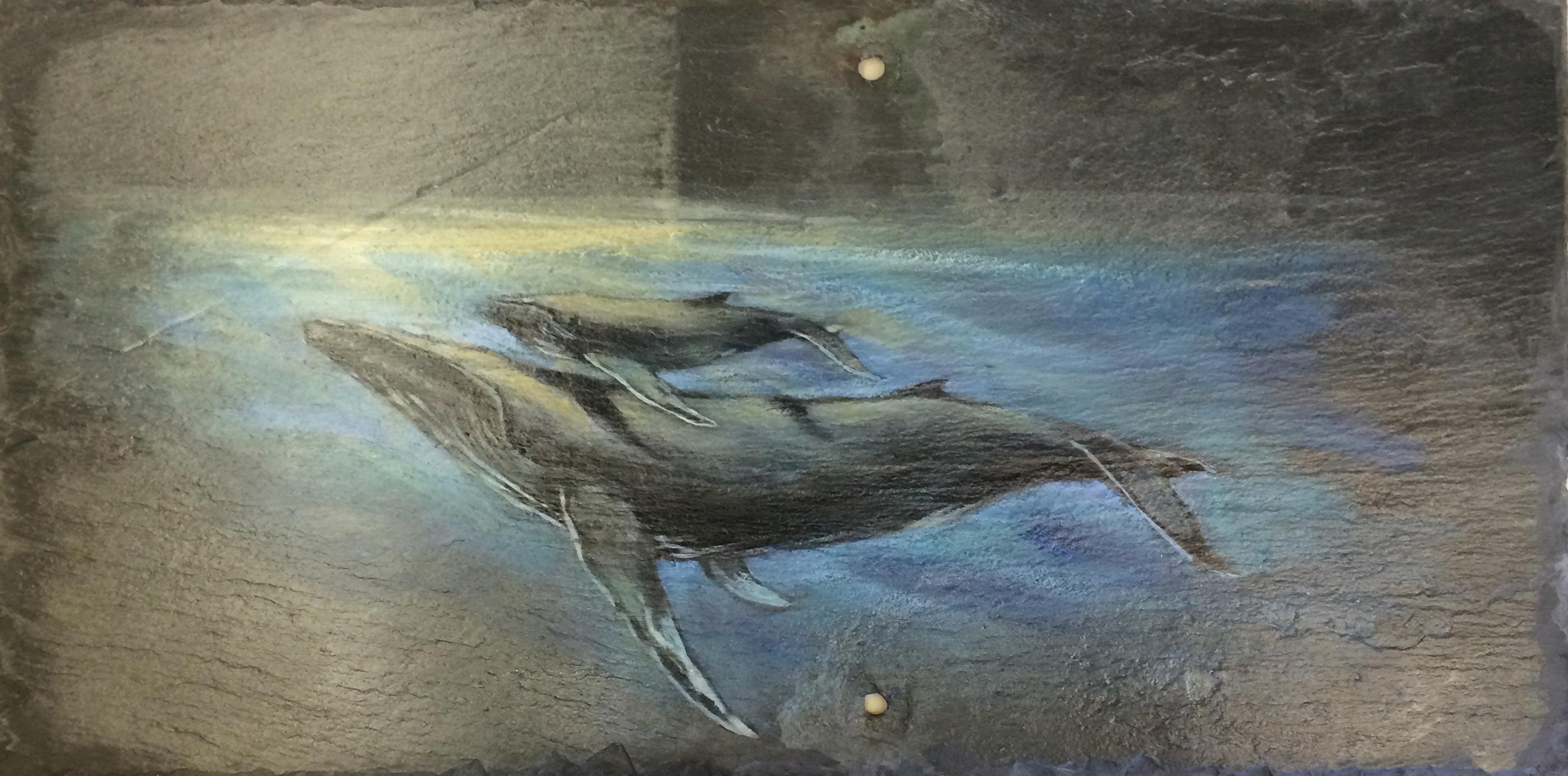 Painting on slate tile by Anne Demeter